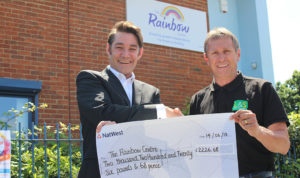 L&S Waste - Charity In the Community - L&S Waste presents cheque by Steve Kew to Rainbow Centre Charity James Mudie