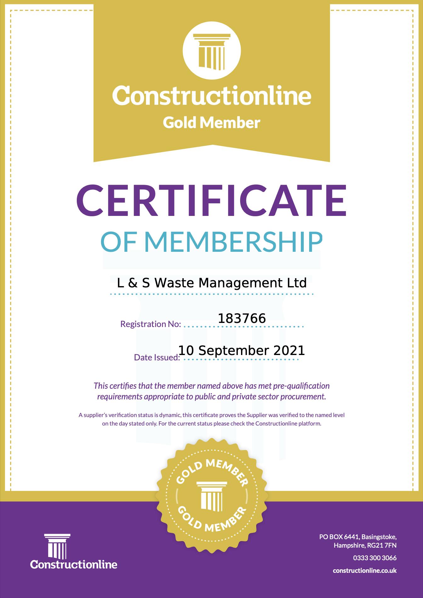 L&S Waste Management - Constructionline Gold Member