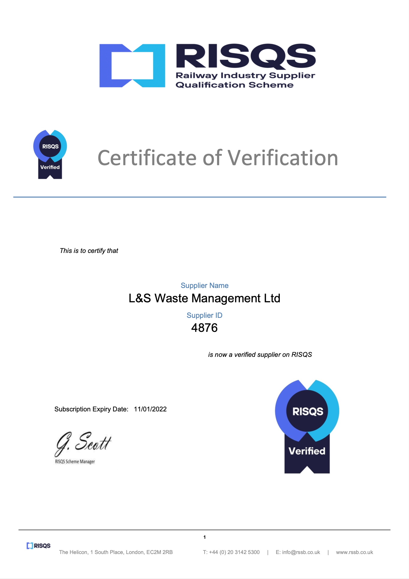 L&S Waste Management - RISQS Certificate